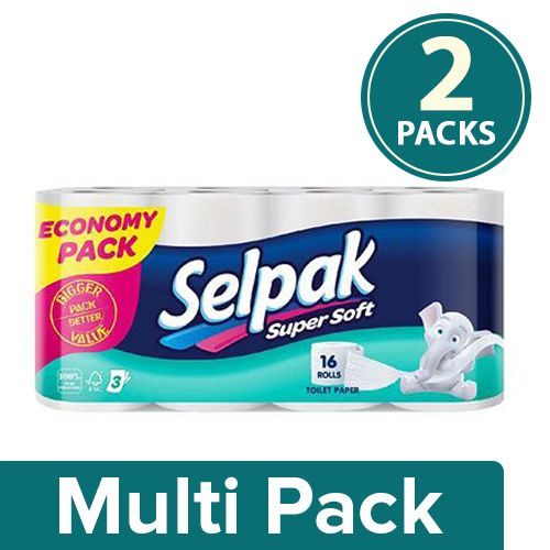 Selpak Imported Toilet Tissue Paper - Supersoft, Plain Large Economical Pack 3Ply, 2x16 Rolls Multipack