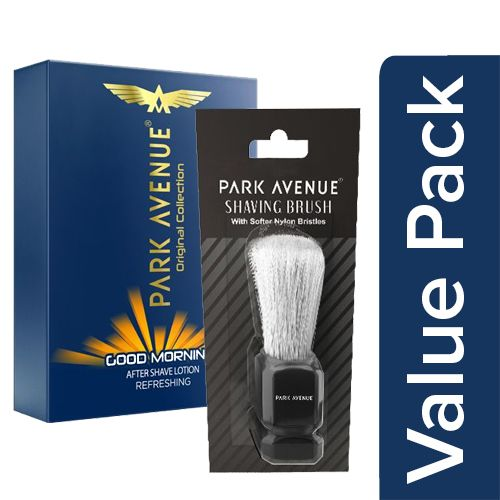 Park avenue After Shave Lotion - Good Morning 50 Ml + Shaving Brush - Blister Pack 1 Pc, Combo 2 Items