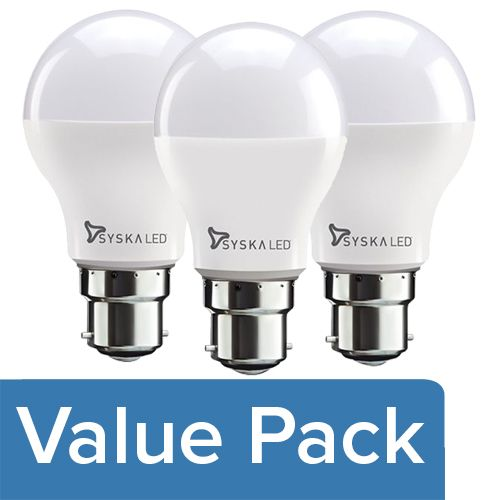 Syska LED Bulb - 3-Watt, Base B22 1pc + 5-Watt, Base B22 1pc + 7-Watt, Base B22 1pc, Combo 3 Items