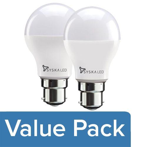 Syska LED Bulb - 3-Watt, Base B22 1pc + LED Bulb - 5-Watt, Base B22 1pc, Combo 2 Items