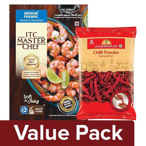 bb Combo ITC Master Chef Prawns Medium 200 gm + ITC Aashirvaad Chilly Powder 100gm, Combo 2 Item