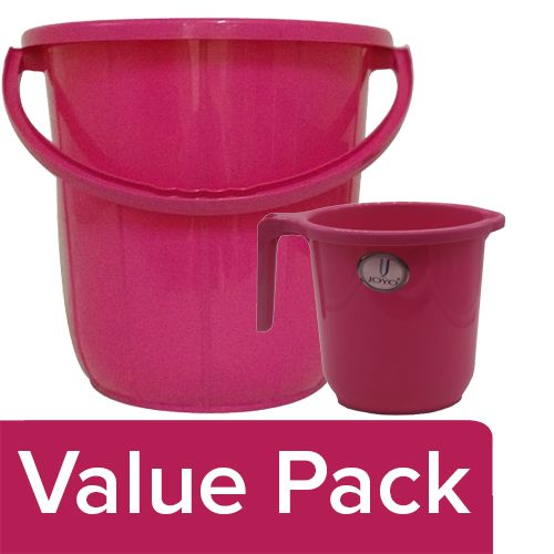 Joyo Super Bucket - Assorted Colour, 16 L + Metro Mug - Plain, Assorted, 1 L, Combo 2 Items