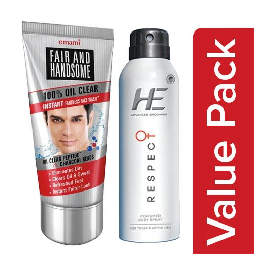 bb Combo Fair&Handsome Face Wash 100% Oil Clear 100G+He Body Spray Perfume Respect 150ml, Combo 2 Items