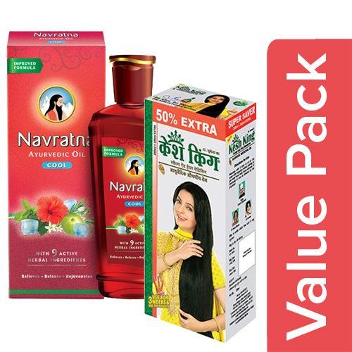 bb Combo KeshKing Medicinal Oil Ayurvedic 200ml(100ml Extra)+Navratna Oil Ayurvedic 300ml, Combo 2 Items