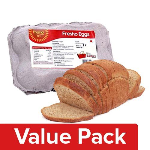 Fresho Bread - Brown, Chemical Free 400G + Eggs - Regular 6pcs, Combo 2 Items