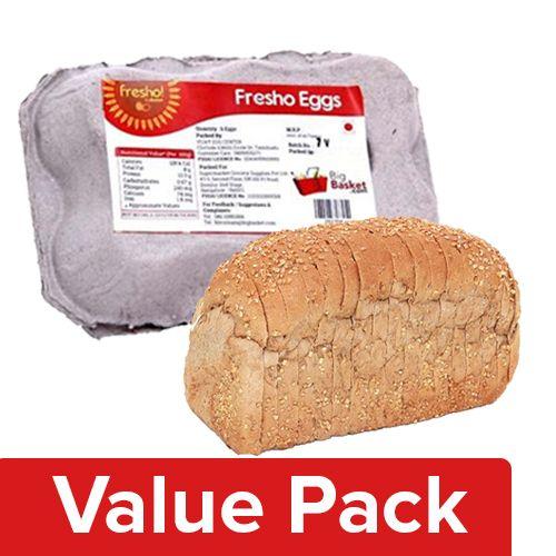Fresho Bread - Whole Wheat, Chemical Free 400G + Eggs - Regular 6pcs, Combo 2 Items