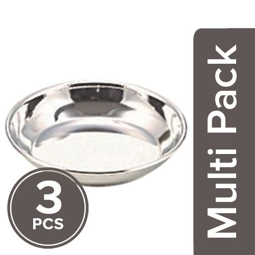 Neelam Pudding/Halwa Plate - Stainless Steel, 3x5.5 inch Multipack