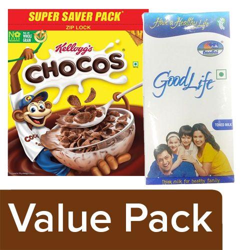 bb Combo Kelloggs Chocos 1.2kg + Nandini GoodLife Toned Milk 1lt, Combo 2 Items
