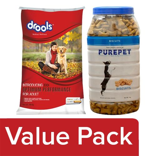 bb Combo Drool Dog Food Adult 20kg + Purepet Dog Treats - Real Chicken Biscuit, Milk 1kg, Combo 2 Items