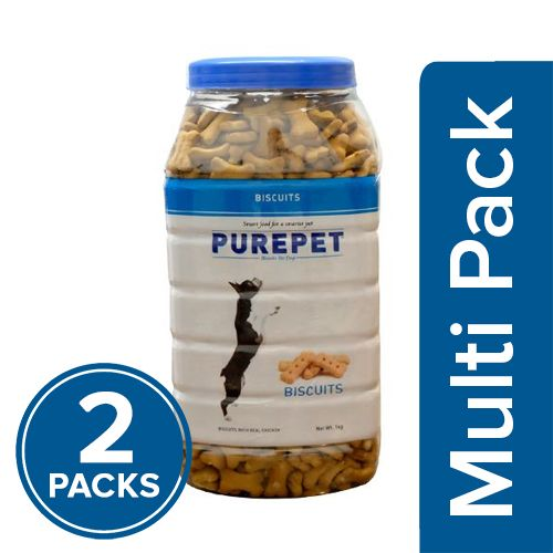 Purepet Dog Treats - Real Chicken Biscuit, Milk Flavour, 2x1 kg Multipack