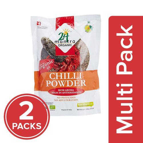 24 Mantra Organic Powder - Chilly, 2x100 gm Multipack