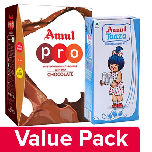 bb Combo Taaza Homogenised Toned Milk 1 lt + Malt Beverage - Pro 500 Gm, Combo 2 Items