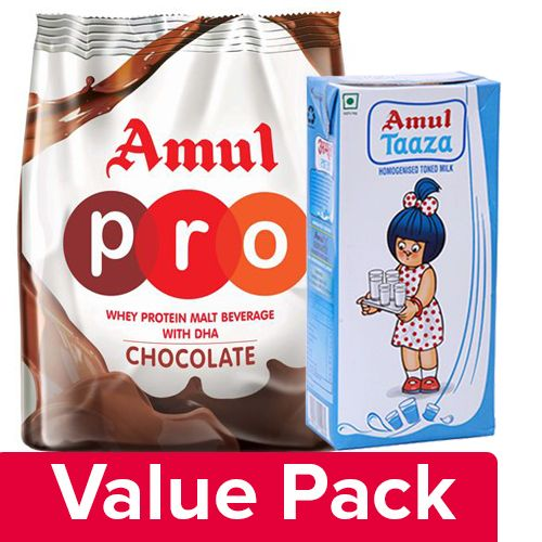 Amul Taaza Toned Milk 1Lt + Pro Whey Protein - Malt Beverage With Dha 500Gm, Combo 2 Items