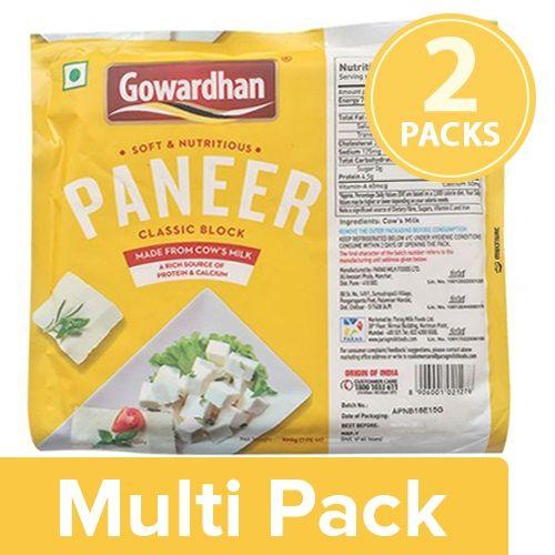 Gowardhan Fresh Paneer - Classic Block, 2x200 g Multipack