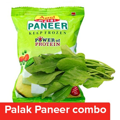 bb Combo Fresho Palak - Without Root 250 Gm + Amul Malai Paneer 200 Gm, Combo 2 Items