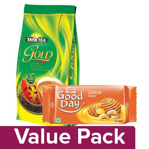 bb Combo Tata Tea Gold Leaf Tea 500Gm + Britannia Good Day Cookies - Rich Cashew 200Gm, Combo 2 Items