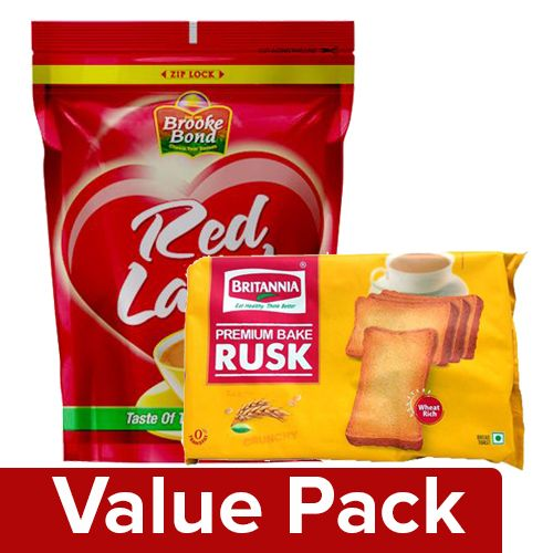 bb Combo Red Label Tea 1 Kg + Britannia Premium Bake Rusk 300 Gm Pouch, Combo 2 Items