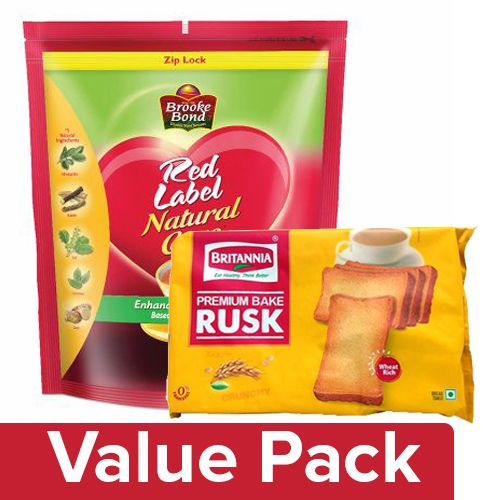 bb Combo Red Label Tea - Natural Care 1 Kg + Britannia Premium Bake Rusk 300 Gm Pouch, Combo 2 Items