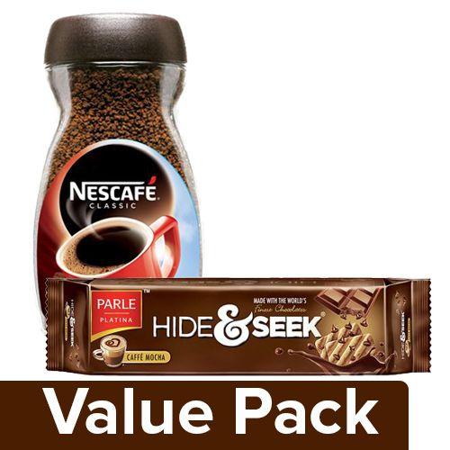 bb Combo Nescafe Coffee Classic 100Gm Jar + Parle Cookies Hide & Seek (Caffe Mocha) 120Gm, Combo 2 Items