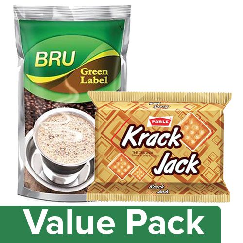 bb Combo Bru Filter Coffee - Green Label 500 Gm + Parle Krackjack 200 Gm Pouch, Combo 2 Items