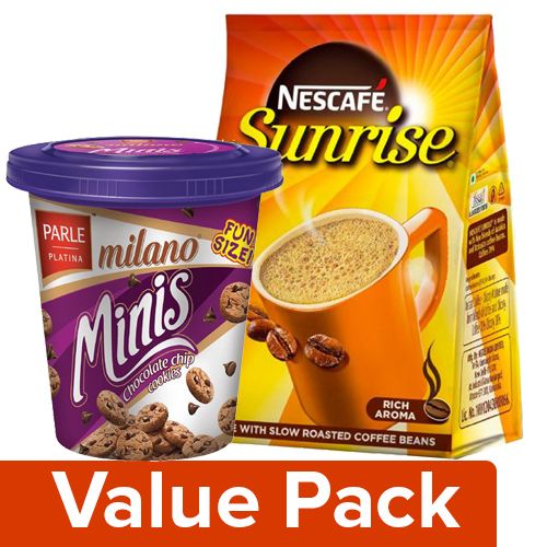 bb Combo Nescafe Coffee Sunrise 200G Pouch + Parle Cookies Milano Minis Chocolate 100G, Combo 2 Items