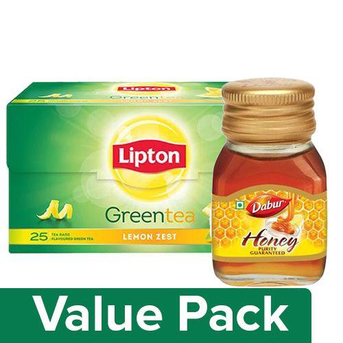 bb Combo Lipton Green Tea - Lemon Zest 25 Pcs + Dabur Honey 100 Gm Bottle, Combo 2 Items