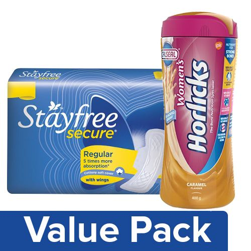 bb Combo Horlicks Womens Drink Caramel 400G Jar + Stayfree Secure Cottony Soft 20Pc, Combo 2 Items