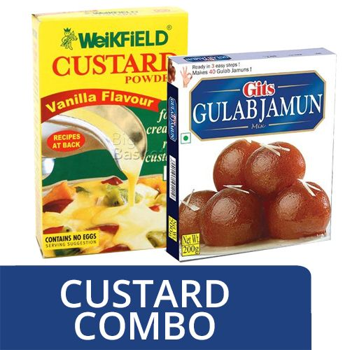 bb Combo Weikfield Custard Powder Vanilla Flavor 100Gm + Gits Ready Mix Gulab Jamun 200Gm, Combo 2 Items