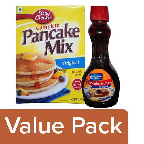 bb Combo Betty Crocker Mix - Pancake 1 Kg + American Garden Syrup - Pancake 355 Ml, Combo 2 Items