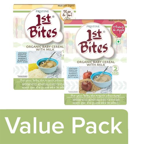 1St Bites Baby Food - Rice & Dal, Wheat & Apple Powder, Stage 2,8-24 Months, Combo, 300 gm Pack of 2