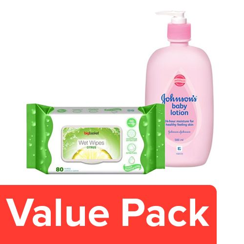 bb Combo Johnson & Johnson Baby Lotion 500 Ml + Bigbasket Wet Wipes - Citrus 80 Pcs, Combo 2 Items