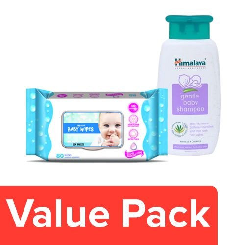 bb Combo BB Baby Wipes - Sea Breeze 80pcs + Himalaya Shampoo Gentle Baby 200ml, Combo 2 Items