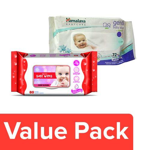 bb Combo Himalaya Wipes - Gentle Baby 72Pcs + Bigbasket Baby Wipes - Cherry Blossom 80Pcs, Combo 2 Items