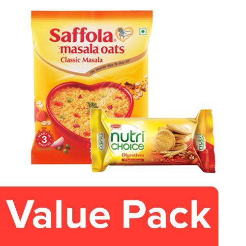 bb Combo Britannia Nutri Choice Hi Fibre Biscuits 100G + Saffola Oats Classic Masala 40G, Combo 2 Items