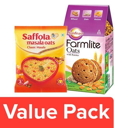 bb Combo Sunfeast Farmlite Biscuit Oats & Raisins 150G + Saffola Oats Classic Masala 40G, Combo 2 Items