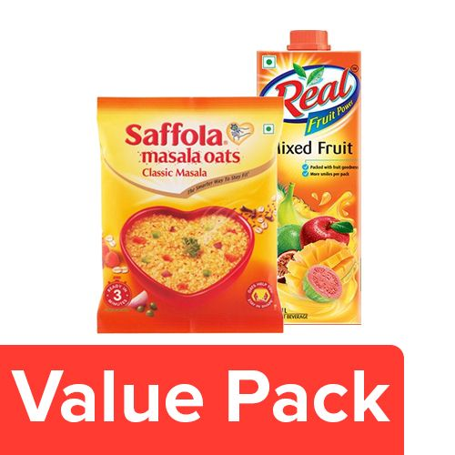 bb Combo Real Juice Fruit Power Mixed Fruits 1L + Saffola Oats Classic Masala 40G, Combo 2 Items