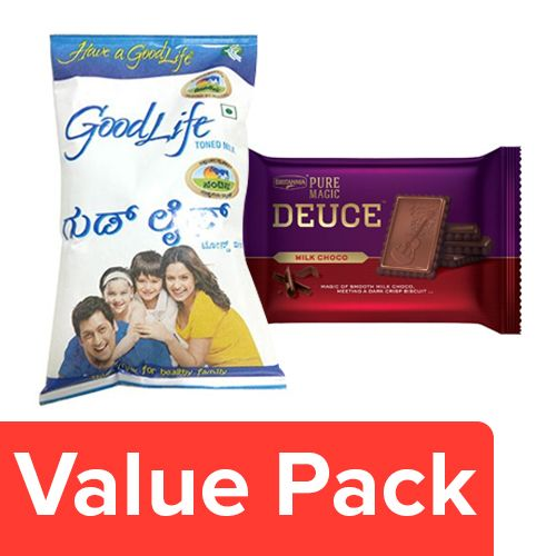 bb Combo Pure Magic Biscuit Milk Chocolate, Deuce 60G + Nandini Goodlife Toned Milk 500ml, Combo 2 Items