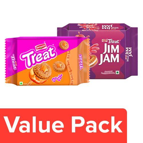 Britannia Treat Jim Jam Biscuits 150gm + Treat Orange Biscuits 150gm, Combo 2 Items