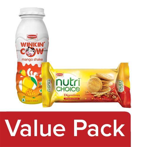 Britannia Winkin Cow Milkshake Mango 200ml + Nutri Choice Hi Fibre Digestive Biscuits 100G, Combo 2 Items