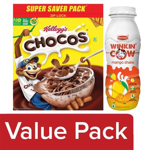 bb Combo Britannia Winkin Cow Milkshake - Mango 200 ml + Kelloggs Chocos 1.2 kg, Combo 2 Items