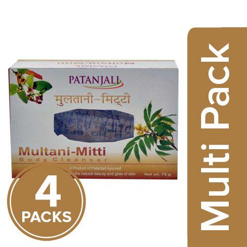 Patanjali Multani Mitti - Body Cleanser, 4x75 gm Multipack