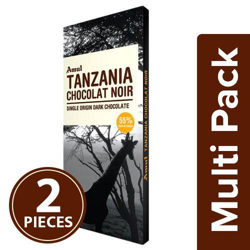 Amul Tanzania Chocolat Noir, Single Origin Dark Chocolate - 55% Dark, 2x125 gm Multipack