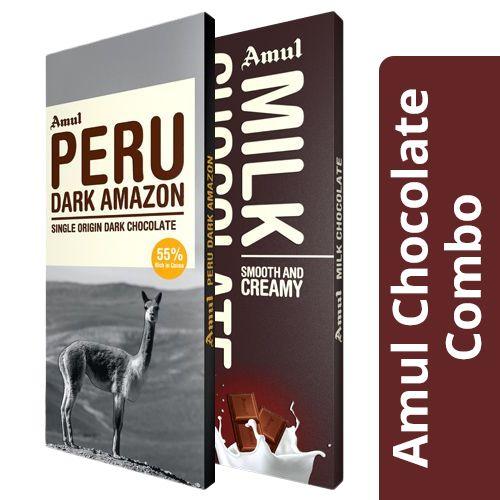 Amul Peru Dark Amazon - 55% Dark 125 gm + Milk Chocolate - Smooth & Creamy 150 gm, Combo 2 Items