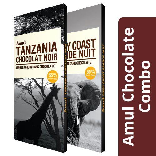 Amul Tanzania Chocolat Noir - 55% Dark 125G + Ivory Coast Grande Nuit - 55% Dark 125G, Combo 2 Items