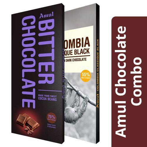 Amul Bitter Chocolate - 75% Cocoa 150 gm + Colombia Classique Black - 55% Dark 125 gm, Combo 2 Items