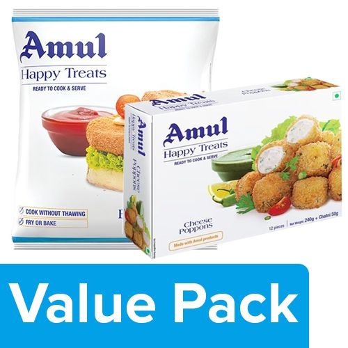 Amul Happy Treats Veg Burger Patty 360G + Ready to Cook & Serve Cheese Poppons 300G, Combo 2 Items