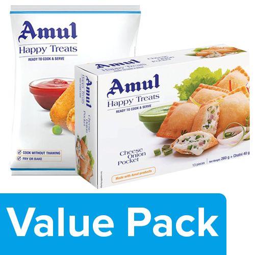 Amul Happy Treats Ready to Cook & Serve - Cheese Onion Pocket 300G + Veggie Stix 425G, Combo 2 Items