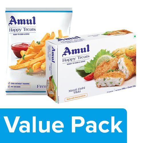 Amul Happy Treats French Fries 425gm + Ready to Cook & Serve - Masti Dahi Tikki 300gm, Combo 2 Items