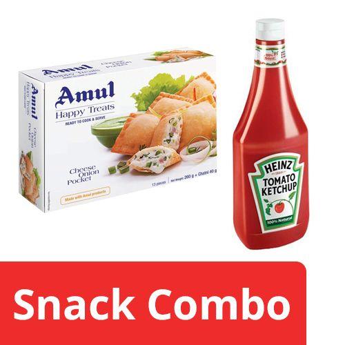 bb Combo Heinz Ketchup - Tomato 900 gm + Amul Happy Treats Cheese Onion Pockets 300 gm, Combo 2 Items