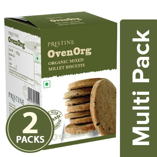 PRISTINE Biscuits - Organic, Mixed Millet, OvenOrg, 2x150 gm Multipack